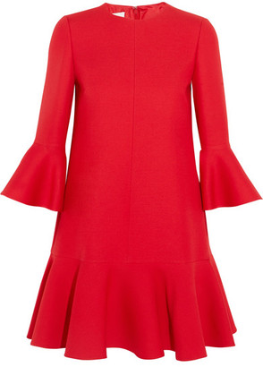 Valentino - Ruffle-trimmed Wool And Silk-blend Mini Dress - Red $2,890 thestylecure.com