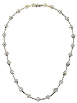 18K Diamond Cluster Flower Collar Necklace