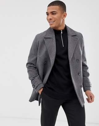 61c933d0f2c9 Asos Design DESIGN wool mix peacoat in light gray
