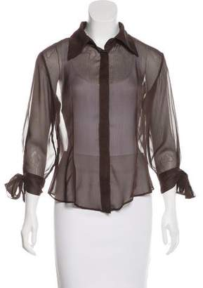 Just Cavalli Sheer Button-Up Top