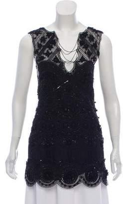 Lela Rose Embellished Sleeveless Top