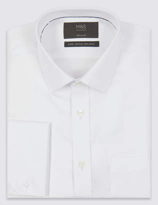 Marks and Spencer Pure Cotton Regular Fit Non-Iron Twill Shirt