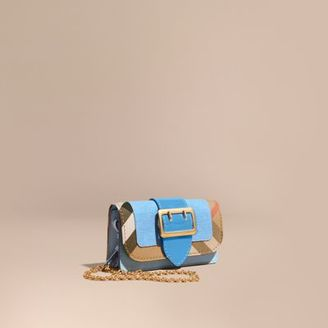 Burberry The Mini Buckle Bag in Leather and House Check $695 thestylecure.com