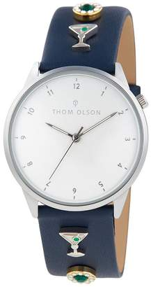 DAY Birger et Mikkelsen Thom Olson Thom Olson Dream White Dial Blue Leather Strap With Cocktail Charms Ladies Watch