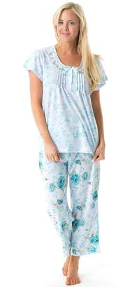 Casual Nights Women's Short Sleeve Floral Capri Pajama Set