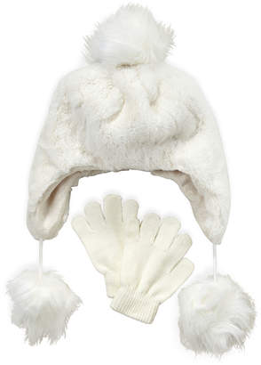 Capelli New York (Girls 4-6x) Two-Piece Faux Fur Pom-Pom Hat & Gloves Set