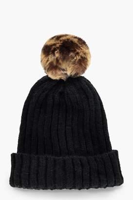 boohoo Black Beanie With Leopard Faux Fur Pom