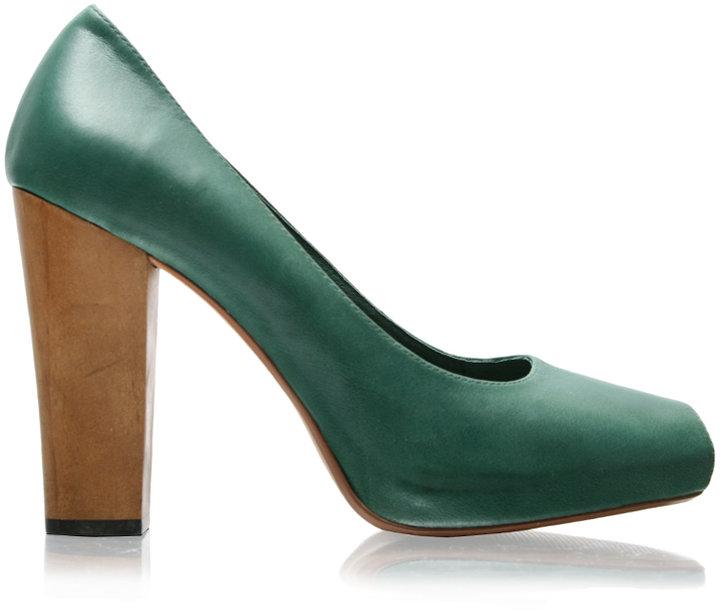 Asos Premium Leather Peep Toe Wooden Heel Shoe