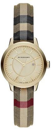 Burberry 32mm Round Golden Watch with Check Strap $795 thestylecure.com
