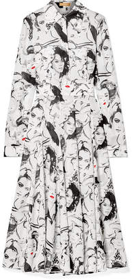 Michael Kors David Downton Printed Silk Crepe De Chine Midi Dress - White
