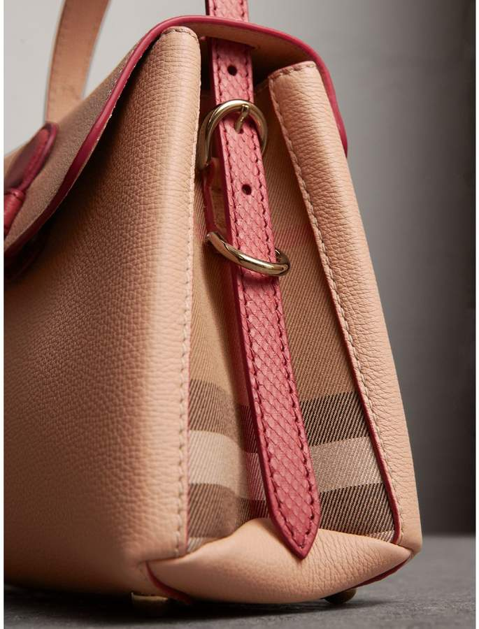 Burberry Small Two-tone Leather and House Check Tote
