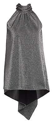 Halston Women's Mockneck Metallic Knit High-Low Top