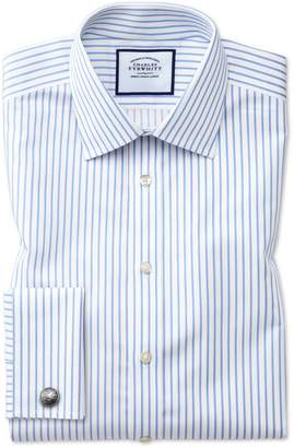 Charles Tyrwhitt Classic Fit Non-Iron Sky Blue Stripe Twill Cotton Dress Shirt French Cuff Size 15/33