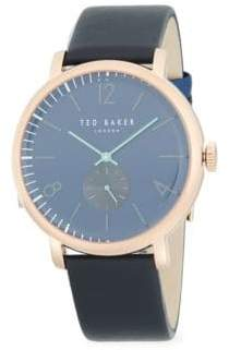 Ted Baker Oliver Stainless Steel Leather Strap Watch