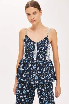 Topshop Blue Floral Peplum Pyjama Camisole Top