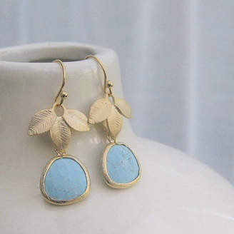 EVY Designs Turquoise Glass Drop Earrings