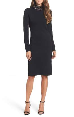 Eliza J Jeweled Neck Sheath Cocktail Dress