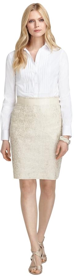 Brooks Brothers Metallic Lace Pencil Skirt