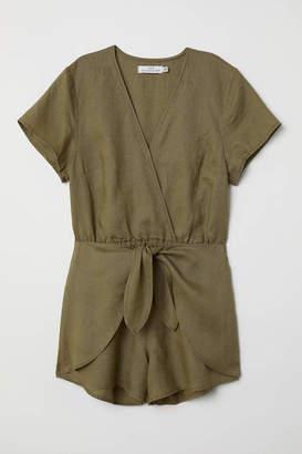 H&M Linen Jumpsuit - Khaki green - Women