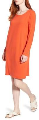 Eileen Fisher V-Back Stretch Tencel Lyocell Shift Dress