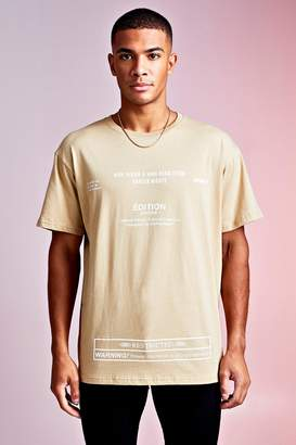 boohoo MAN Design Loose Fit With Multi Text Edition Print