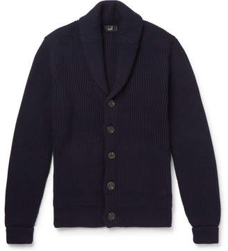 Dunhill Shawl-Collar Ribbed Merino Wool Cardigan