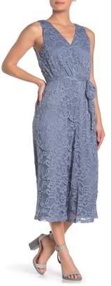 June & Hudson Lace Overlay Jumpsuit