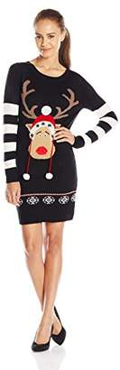 Blizzard Bay Women's Christmas Tunic Sweater Dress with Reindeer Poms