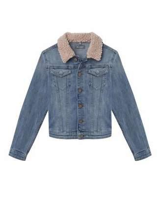 DL1961 Premium Denim Light Wash Denim Jacket w/ Sherpa Collar, Size S-L