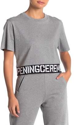 Opening Ceremony Elastic Hem Logo Trim Cropped T-Shirt