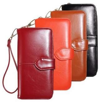 New Fashion Lady Zipper Around Women Imitation Wax Cow Leather Wallet Long Card Holder Case Clutch Purse Handbag Bag Party Organizer Kadell
