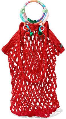 Nannacay - Fishnet Pompom-embellished Macramé Tote - Red