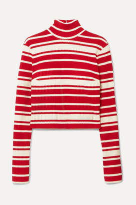 Prada Striped Ribbed-knit Turtleneck Sweater - Red