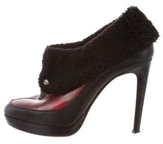 Viktor & Rolf Leather Shearling-Trimmed Booties