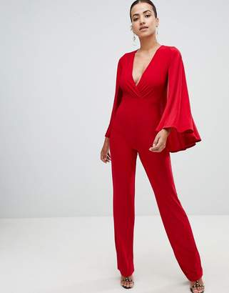 Club L cape V plunge wrap jumpsuit