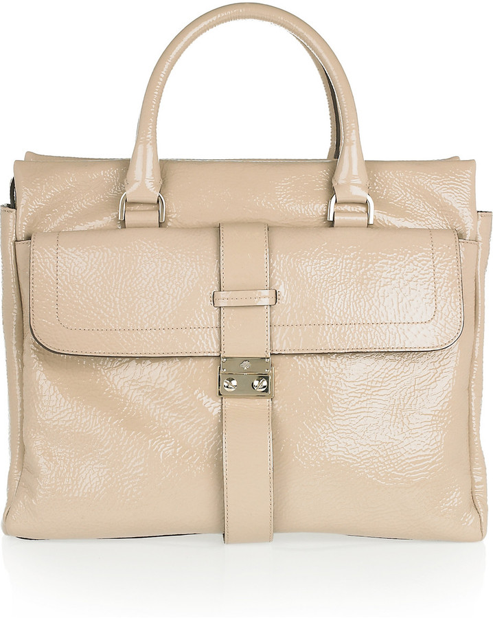 Mulberry Harriet textured patent-leather tote