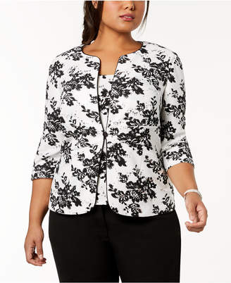 Alex Evenings Plus Size Sequined Printed Jacket & Shell