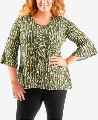 NY Collection Plus Size Printed Bell-Sleeve Top