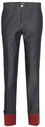 Bottega Veneta Mid-rise leather-trimmed straight jeans