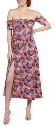 24/7 Comfort Apparel Women's Nina Pink and Blue Floral Side Slit Dress