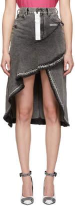 Off-White Grey Asymmetric Denim Skirt