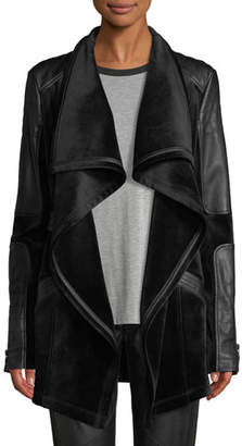 Blanc Noir Drape Velour & Faux-Leather Belted Jacket