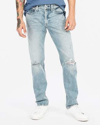 Express Slim Light Wash Distressed Stretch Jeans