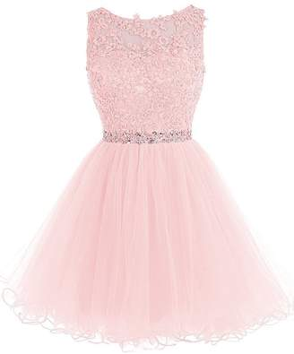 f2cca7bb02 Cdress Beaded Applique Short Prom Homecoming Dresses Tulle Party Evening  Gowns US
