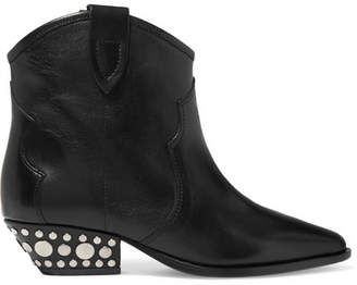 Isabel Marant Dawyna Studded Leather Ankle Boots - Black