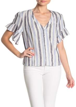 Supply & Demand Striped V-Neck Ruffle Sleeve Linen Blend Top