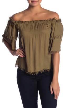 Chaser Off-the-Shoulder Frayed Sleeve Top