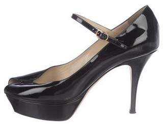 Saint Laurent Patent Leather Peep-Toe Pumps