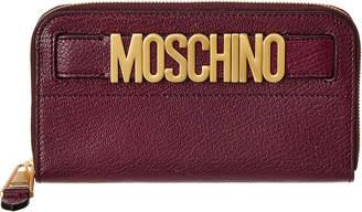 Moschino Logo Leather Zip Around Wallet