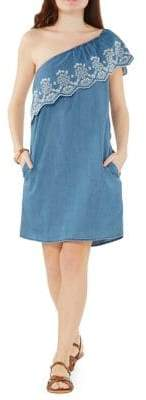 Dorothy Perkins One-Shoulder Eyelet Ruffle Dress